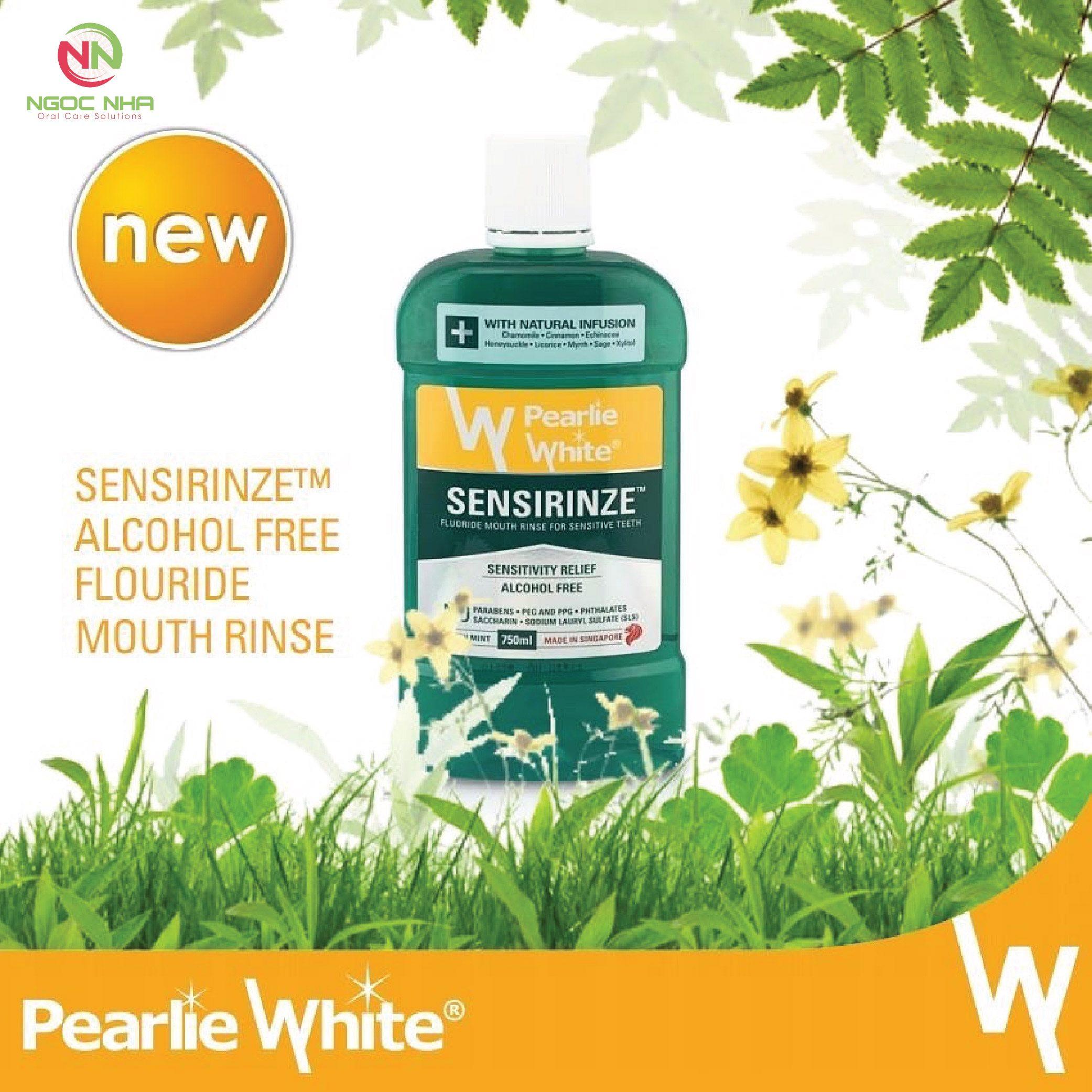 Nước súc miệng ngăn ngừa ê buốt cho răng nhạy cảm Pearlie White SENSIRINZE™ - Flour không cồn 750ml