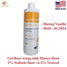 Gel fluor trung tính Master Dent 2% Sodium fluor và 2% Neutral hương Vanilla, ngừa sâu răng, giảm ê buốt, ngậm xạ trị, dung tích 475ml